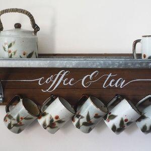 coffee & tea wall shelf | farmhouse decor